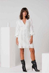 Vestido Branco Manga Bufante Marina