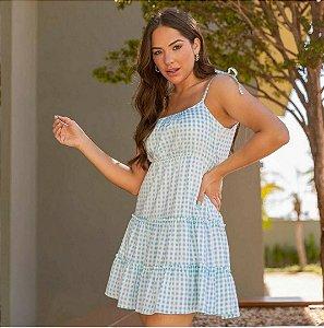 vestido xadrez alça