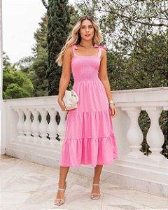 vestido midi silvia rosa