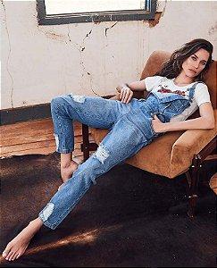 macacão jeans puido villon
