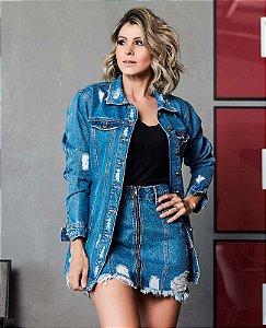Maxi jaqueta villon jeans destroyed