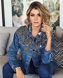 jaqueta jeans bordada pedras villon