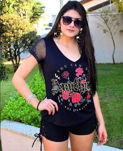 T-SHIRT BORDADO ROSAS VILLON