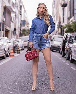 camisa jeans botão encapado marcilia villon
