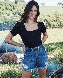 short hot pant com cinto jeans villon jeans