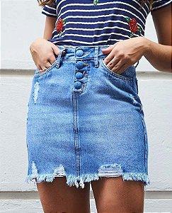 mini saia jeans com botão encapado villon
