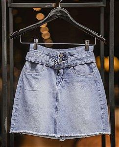 mini saia cinto jeans fivela metal villon