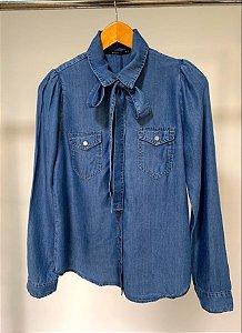 Camisa manga princesa e laço jeans nivea villon