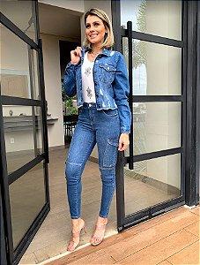 Calça cropped jeans cargo ruth