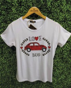 T-shirt bordada pedraria love bug misseli