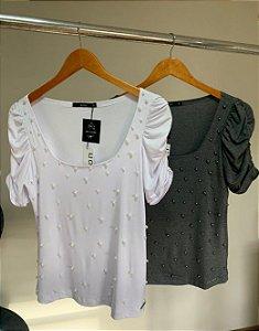 T-shirt manga princesa bordada perolas