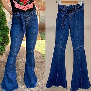 maxi flare cinto jeans botao encapado