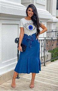 Saia Midi jeans com faixa dilmara