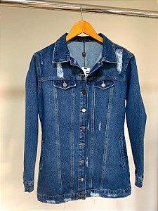 Jaqueta maxi com puidos villon jeans