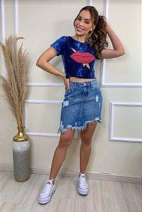 Mini saia jeans barra desfiada cacia
