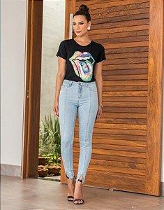 Calça Cropped jeans clara Gardela