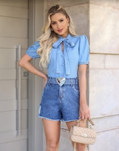 Camisa jeans com laço magali