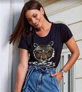 T-Shirt Delmira tigre bordado