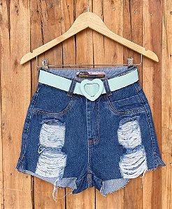 Short Jeans Destroyed Fivela Coração