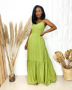 Vestido Longo Poá Verde
