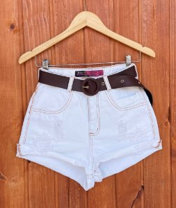 Short Jeans Off Cinto Marrom