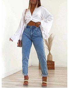 Calça Jeans Mom sem Rasgos