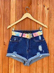 Short Jeans Escuro Rasgos