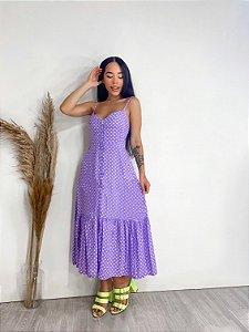 Vestido Botoes Poa Lavanda