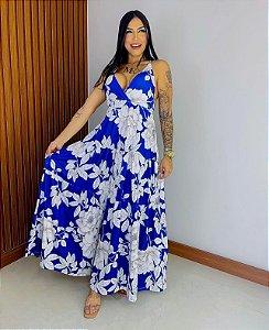 Vestido Longo Estampa Azul