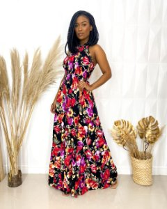 Vestido Lastex Floral