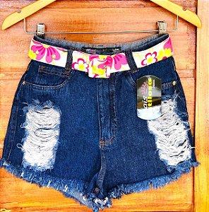 Short Jeans Escuro Cinto Flores