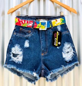 Short Jeans Destroyed Cinto Colorido