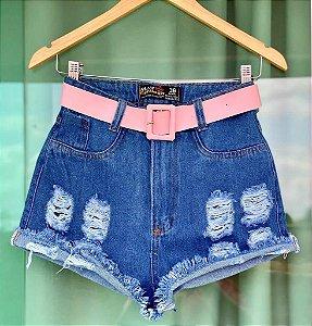 Short Jeans Cinto Rosa