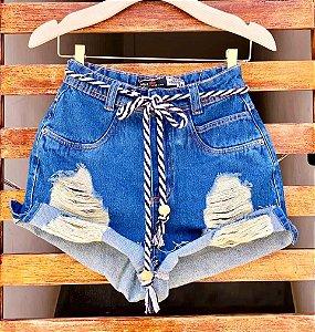 Short Jeans Destroyed Cadarço