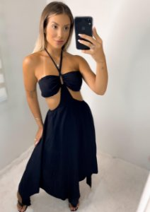Vestido Pontas Preto
