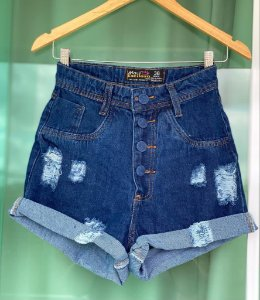 Short Jeans Botoes Barra