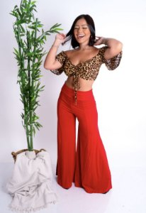 Calça Pantalona Vermelha