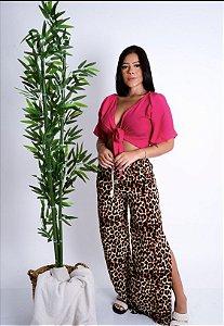 Calça Pantalona Viscose Oncinha