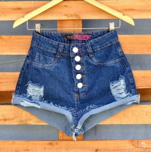Short Jeans Escuro Botoes