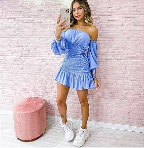 Vestido Lastex Manga Azul