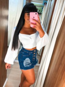 Short Saia Jeans Botoes