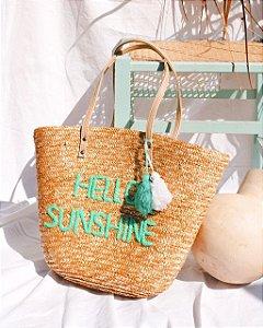 Bolsa de praia hello sunshine bordada com pompom