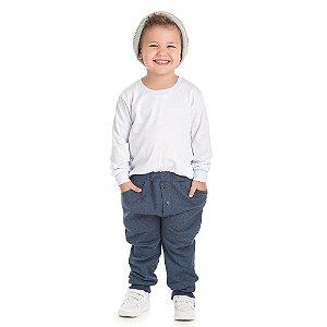 Calça moletom jeans com botões de madeira