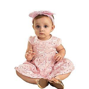 Vestido bebê gatinho suedine