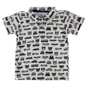 Camisa polo carrinhos manga curta em malha Tamanho 2