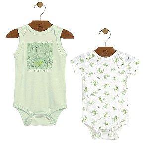 Kit 2 Bodys Suedine grilo verde Up Baby Tamanho P