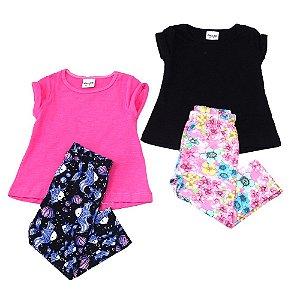 kit 2 Conjuntos blusa e calça legging Fakini Tamanho G