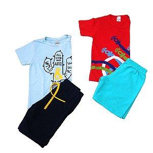 Kit 2 Conjuntos meninos camiseta e short Club B e Happy Joy Tamanho 6