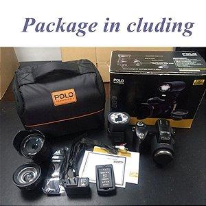 Elrvike câmera digital hd polo d7200, 33 milhões de pixel, auto focus, profissional, câmera de vídeo slr, zoom ótico de 24x três lentes com lente