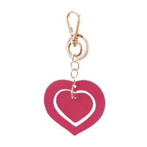 Chaveiro em Couro Modelo Duo Coração Rosa